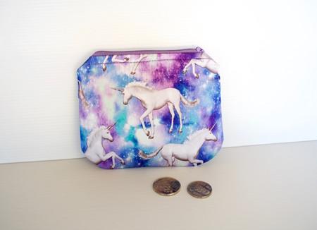 Satin coin purse with unicorn