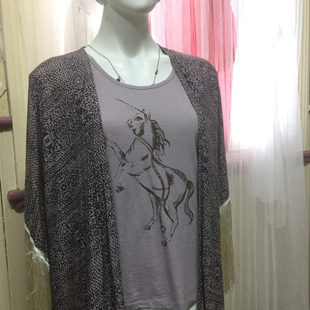 Unicorn cotton Tshirt size 10 women's brown screen print