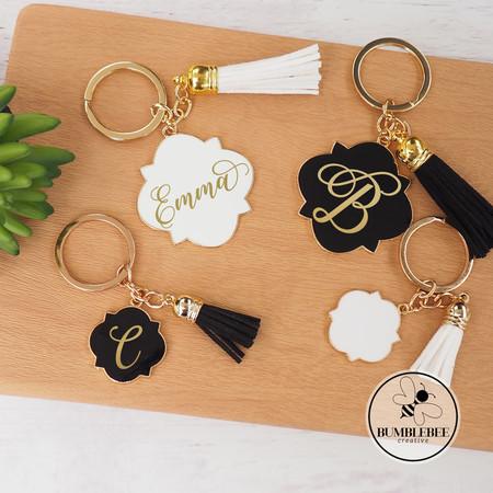 Large Black & Gold Enamel Key Ring