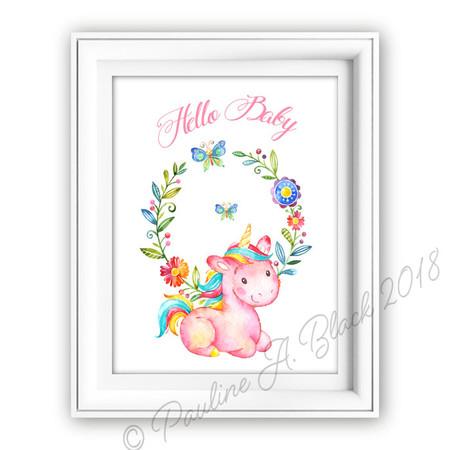 Unicorn Hello Baby Watercolour Print