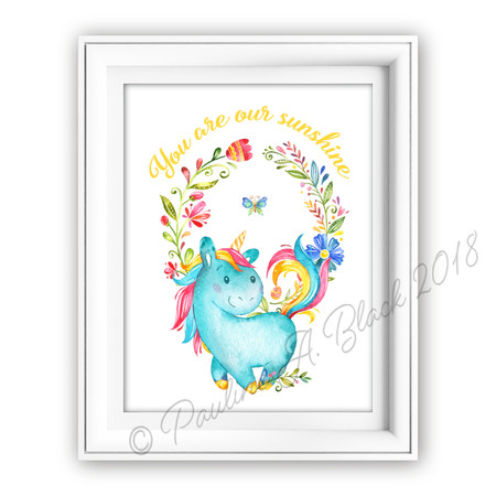 Unicorn Our Sunshine Watercolour Print