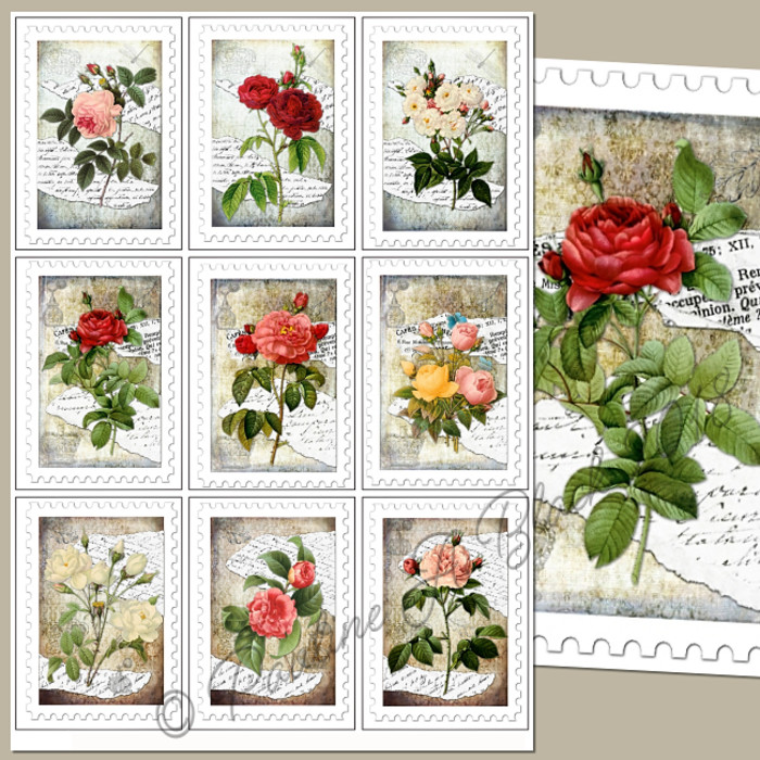 picture relating to Printable Stamps identify Common Roses Stamps ATCs Printable Previous level upon Madeit