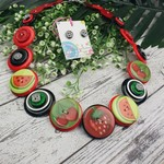 Fruit Salad - Red Black white- Button Necklace - Earrings