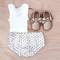Size 0 - Nappy Cover - Metallic Gold Spots - White - Bloomers -