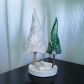 Felted Christmas Trees White Green
