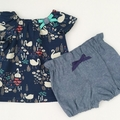 Size 1 - Bubble Shorties - Denim - Cotton - Bloomers - Shorts - Retro