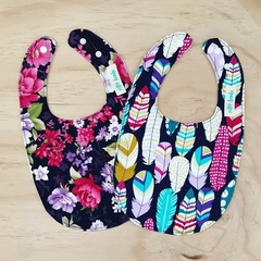 Set of 2 Bibs - Feathers - Navy - Floral - Pink - Cotton - Metallic