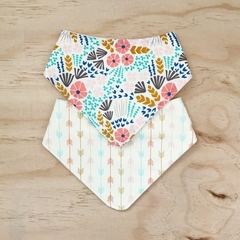 Set of 2 Bibs  - Cream Floral - Arrows - Pink - Blue - Retro - Cotton - Bandanna