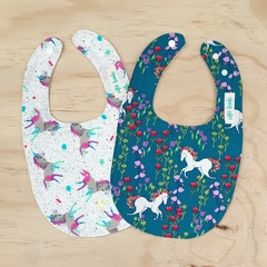Set of 2 Bibs - Unicorns - Baby Girl - Teal - Floral - Pink - Blue - Cotton