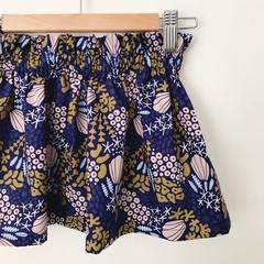 Size 5 - High Waist Skirt - Navy - Mustard - Organic Cotton -