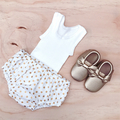 Size 00 - Nappy Cover - Metallic Gold Spots - White - Bloomers -