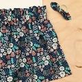 Size 1 - High Waist Skirt - Cotton - Blue - organic- floral