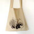 Screen printed wombat calico shoulder bag