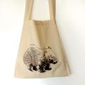 Screen printed wombat calico shoulder bag