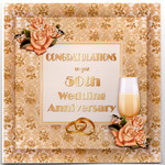 Golden Wedding Anniversary Handmade Card