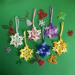 Six Hand Crocheted Colourful Snowflake Xmas Tree Decorations