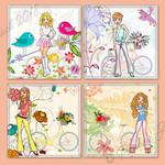 Bicycle Teenage Girls Square Printable