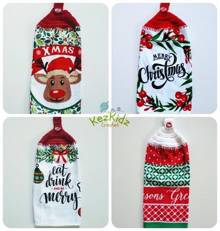Vintage Crochet Top Single Christmas Xmas Hand Towel Kitchen Towel Tea Towel
