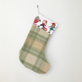 Upcycled wool Christmas stocking with elf detail, Christmas decoration