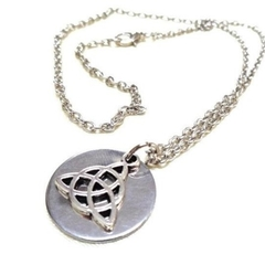 Silver Celtic Knot Triquetra + Stainless Steel Disc Necklace