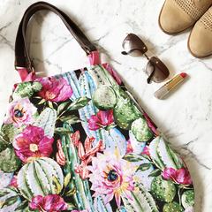 Cactus and floral handbag, beach bag, shopping bag, nappy bag