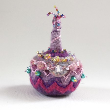 Unique small round felt trinket box. Pink/purple with beads and embroidery.