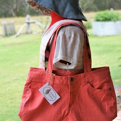 Coral Denim Tote Bag, Shoulder Bag, Eco Friendly Bag, Shopping Bag, Weekend Bag,