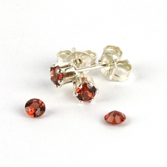 Garnet faceted gemstone 3mm sterling silver stud earrings for young ladies