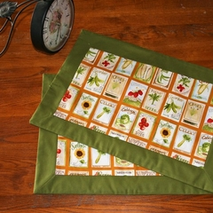 Garden Seeds Place Mats, Cotton Place Mats, Green and Orange Place Mats