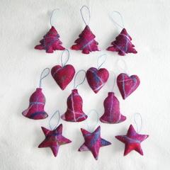 12 Felted Christmas Decorations Burgundy #22
