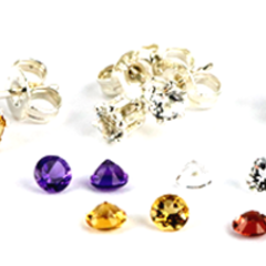3mm Gemstone Stud earring set Topaz, Garnet, Citrine, Amethyst & Peridot
