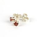 Garnet faceted gemstone 3mm sterling silver stud earrings for young ladies