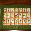 Garden Seeds Place Mats, Cotton Place Mats, Green and Orange Place Mats
