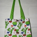 Green Cactus Cotton Tote Bag, Shoulder Bag, Eco Friendly Bag, Shopping Bag