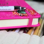 Personal Planner Book, Journal, Kit, Hot Pink, Hand Painted Book, Wish Flowers