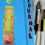 Journal Kit, Blue, A4 Journal, Hand Painted Journal, Candle, Planner Kit,