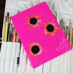 Personal Companion Planner Book, Journal, Kit, Hot Pink, Hand Painted Book,