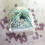 White and Turquoise Hand Crocheted Lavender Bag with Beads