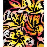 Yellow and Orange Frangipani flowers woodcut style greeting card