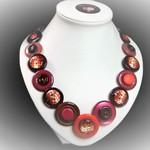 Button necklace - Retro Red