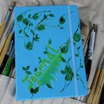 Ideas and Notes Journal, Idea Book, Kit, Blue, Leaf Design, Leaves, Unisex, Gift