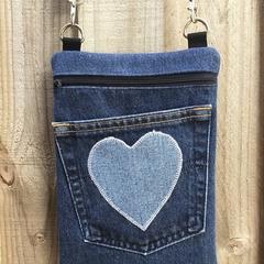 Upcycled Denim Cross Body Bag - Heart