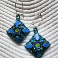 Swarovski Chaton and Silky Bead Earrings