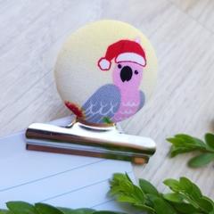 Christmas Galah Bulldog Clip