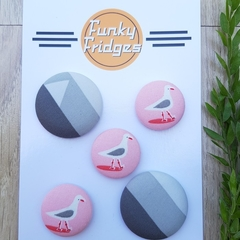 Pink Seagull Flat Magnet Set