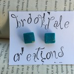 Hand Crafted Clay Stud Earrings- Teal and gold Square