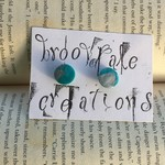 Hand Crafted Clay Stud Earrings- Teal and silver circles