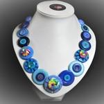 Button necklace - Blue Swirls