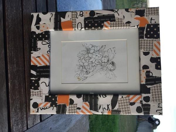Decoupaged Photo Frames- Orange black and white