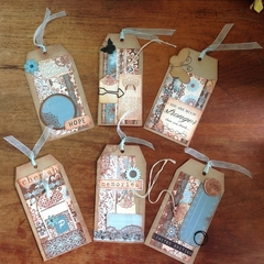 BLUE & BROWN TAGS PK 6